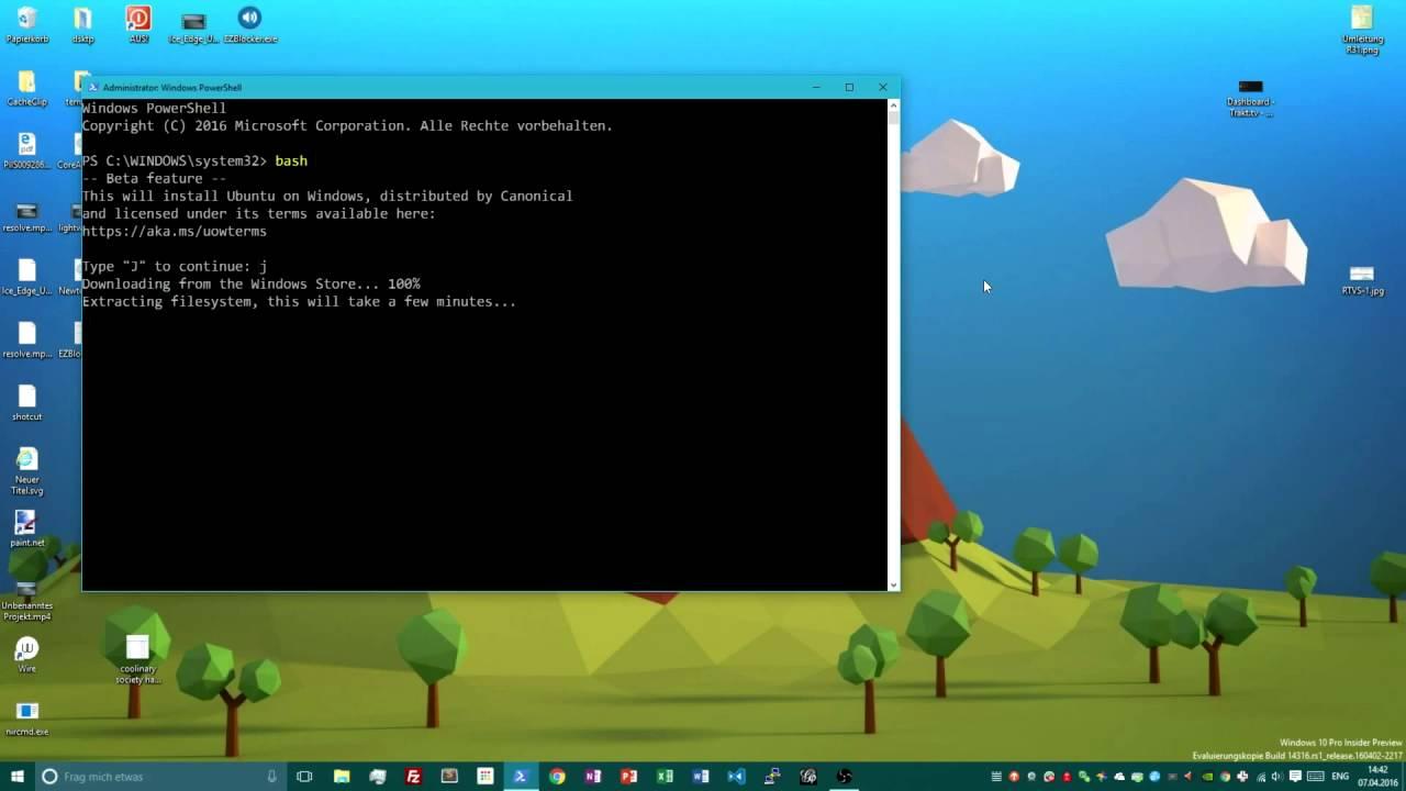 Как установить Linux bash в Windows 10