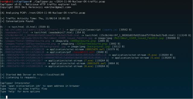 CapTipper — Исследуйте вредоносный HTTP-трафик