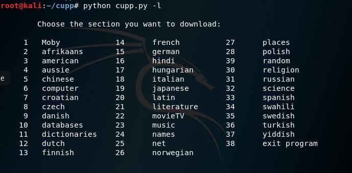 Cupp: Целевой специфический генератор слов