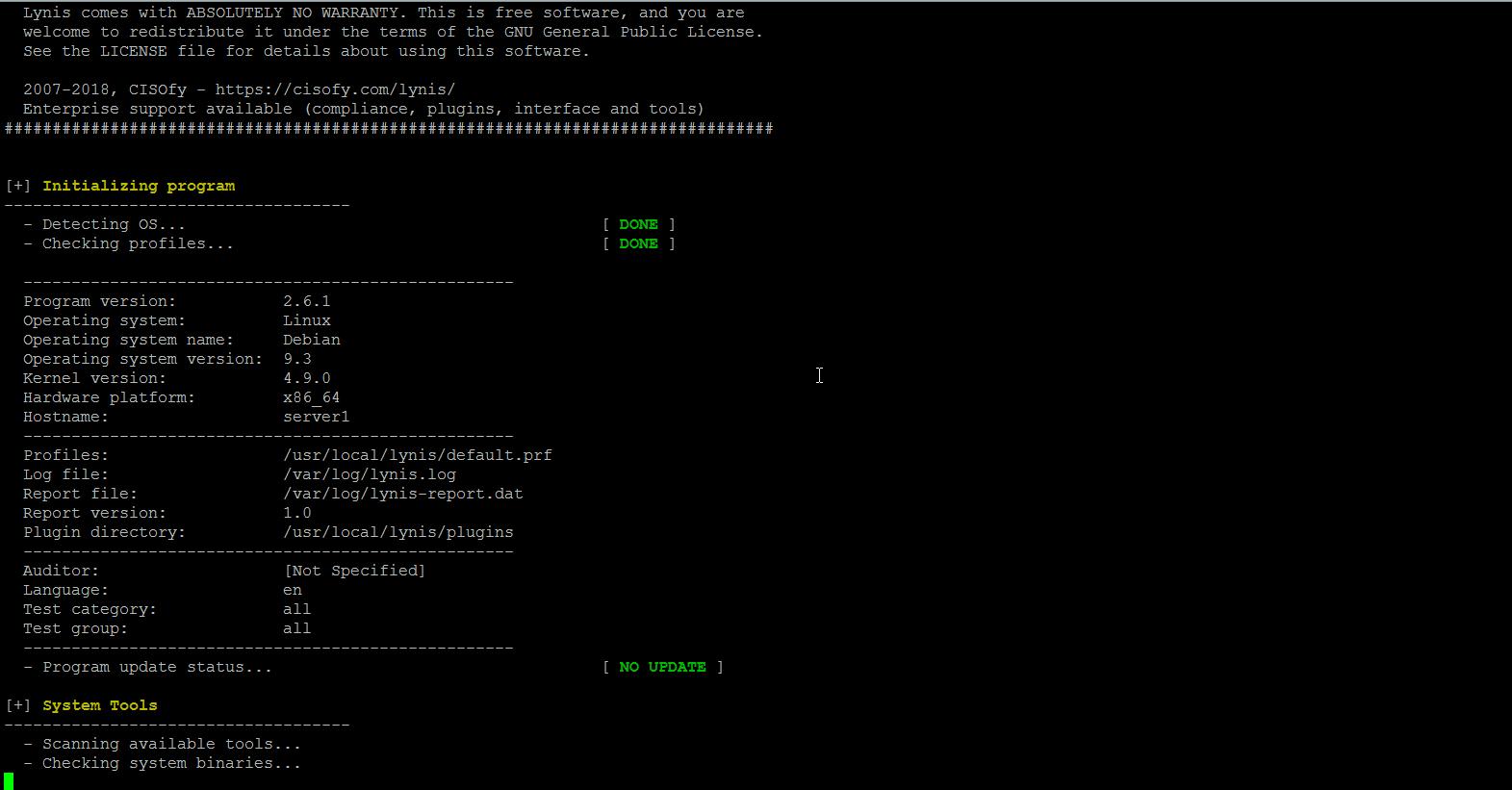 Lynis 2.6.1 – Инструмент аудита безопасности для Unix / Linux Systems