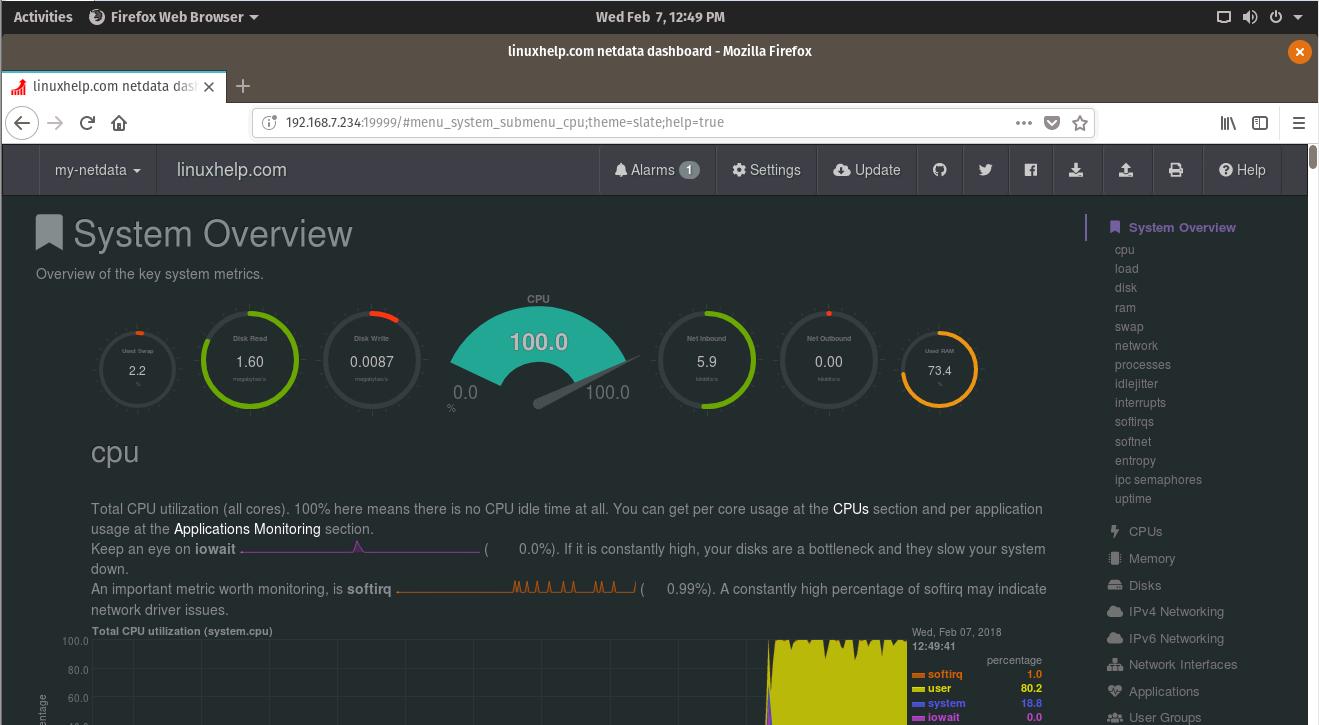 Как установить средство мониторинга Netdata в Pop OS