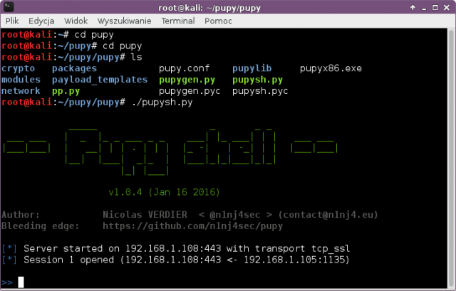 Pupy — Opensource, Кросс-платформенный инструмент (Windows, Linux, OSX, Android) для удаленного администрирования и инструмент для последующей эксплуатации