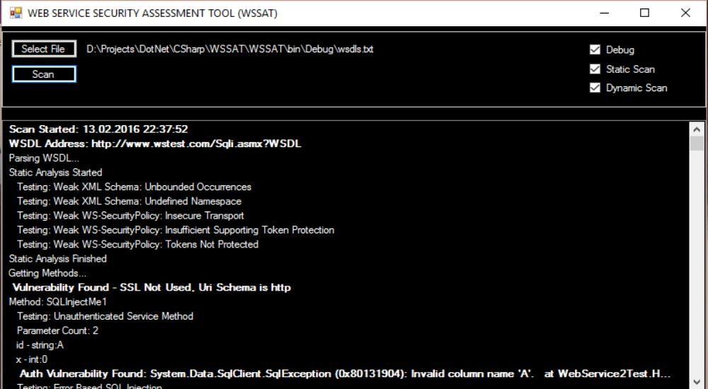 Инструмент оценки безопасности веб-служб: WSSAT