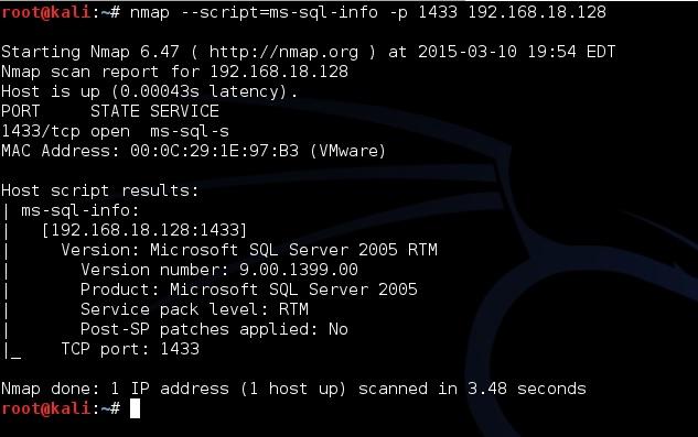 Быстрый SQL Server пентест с NMAP