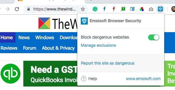 Emsisoft Browser Security блокирует вирусные и фишинговые атаки