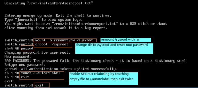 Как сбросить пароль root в RHEL 8