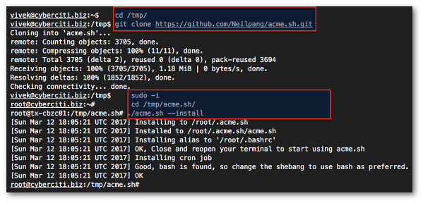 Начало работы с acme.sh и клиентом Let's Encrypt SSL