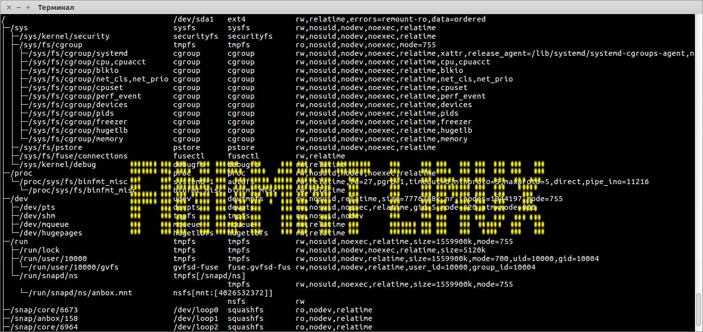 🔳  findmnt — показывает установленные в настоящее время файловые системы в Linux