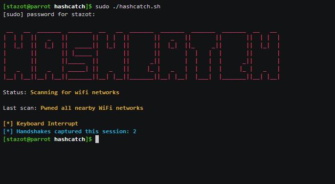 📶 HashCatch – автоматический захват рукопожатий близлежащих сетей WiFi