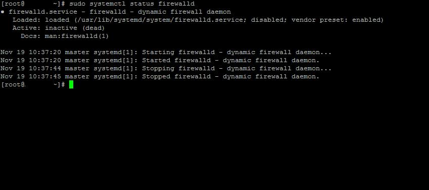 Как остановить и отключить брандмауэр в CentOS 8