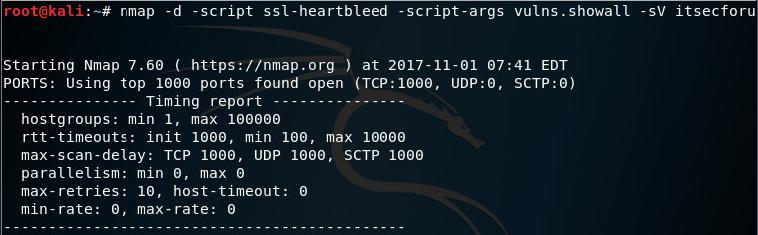 Сканирование на ошибку SSL heartbleed помощью Nmap на Kali Linux